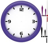 Simple clock with violet plastic frame — Stock Photo