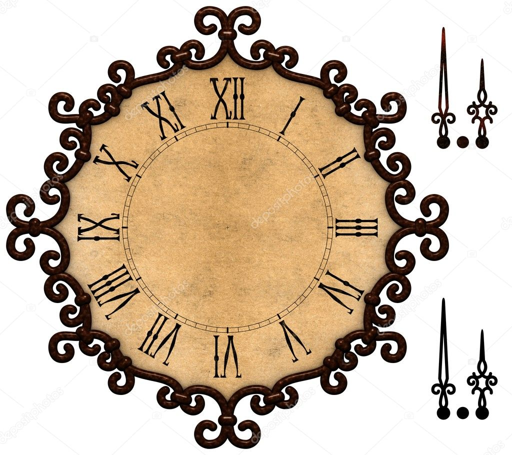 old clock with victorian style metallic frame stock photo 7533909