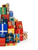 Big stack of colorful Christmas presents — Stockfoto