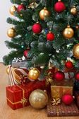 Close view of decorated Christmas tree — Stock Photo