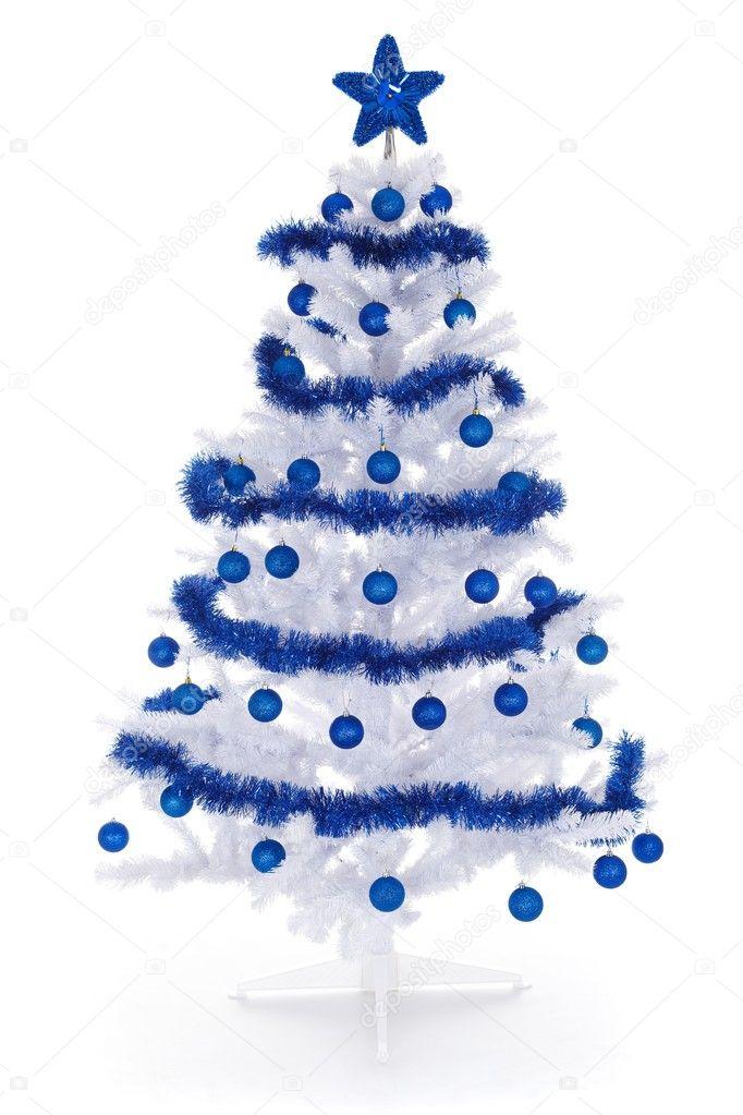 Rbol de navidad blanco con decoraci n azul foto de - Arbol de navidad blancos ...