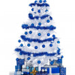 White Cristmas tree with blue decoration — Stock fotografie #7936538