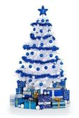 White Cristmas tree with blue decoration — Stockfoto
