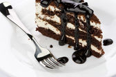 Piece of chocolate cake — Stock Photo