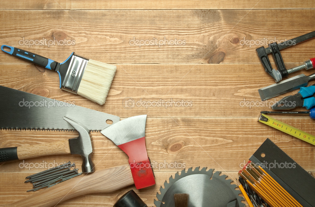 Different tools on a wooden background. — Stock Photo #6849556