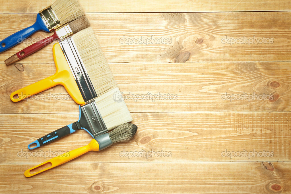 Different tools on a wooden background.  Stock Photo #6849618