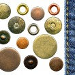Set of various jeans' metal rivets and buttons — Stock Photo #7427325
