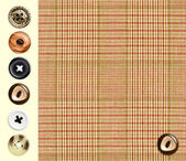 Classic checkered textile with set of various buttons — Stock Photo