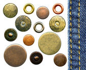 Set of various jeans' metal rivets and buttons — Stock Photo