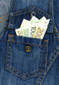 Kot pantolon ve para — Stok fotoğraf