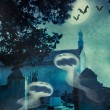 Halloween illustration with evil spirits - Stock Photo