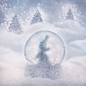 Boule à neige avec bonhomme de neige — Photo