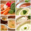 Vegetables soup collage — Stock Photo