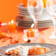 Easter table setting in orange tones — 图库照片