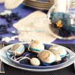 Royalty-Free Stock Photo: Easter table setting in blue and white