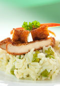 Crispy fried chicken with rice — Stock Photo