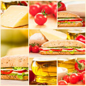 Cheese and vegetables sandwich collage — Stock Photo