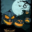 Royalty-Free Stock Vectorielle: Vector Halloween template with night landscape &  evil pumpkins