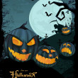 Royalty-Free Stock Imagen vectorial: Vector Halloween template with night landscape &  evil pumpkins