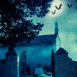 Halloween illustration with graveyard - Lizenzfreies Foto