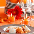 Stock Photo: Easter table setting in orange tones