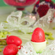 图库照片: Easter table setting in green and red
