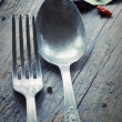 Stock Photo: Fork and knife in rustic setting