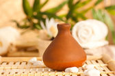 Clay pot diffuser with essentail oils — Stock Photo