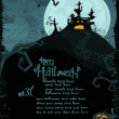 Halloween vector template with haunted castle — Vector de stock