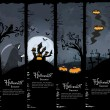 Set of four Halloween banners — Stock Vector