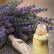 Stock Photo: Spwith lavender oil and bath salt
