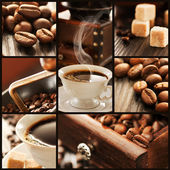 Collage of coffee details. — Stock Photo