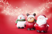 Santa, Rudolph and Snowman — Stock Photo