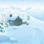 Vector Winter landscape — Stock Vector