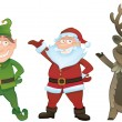Vector set with Santa, Elf and Rudolph — Stock Vector
