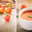Tomato soup collage — Stock Photo