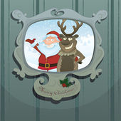 Vector Christmas illustration with Santa and Rudolph — Stock Vector