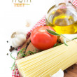 Spaghetti with ingredients - Stock Photo