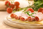 Slices of ham and cheese — Stock Photo