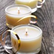 Three candles — Stock Photo