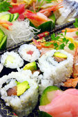 California rolls, and sushi — Stock Photo