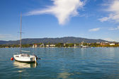 Moored sailboat in Zurichsee — Stock Photo