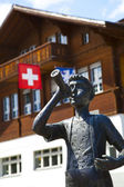 Sculpture of a Trumpeter Boy in Brienz — Stock Photo
