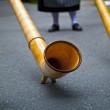 Swiss Alphorn Detail - Stock Photo