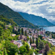 Montreux town and Lake Leman — Stock Photo