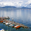 Saint Gingolph Harbor in Lake Leman, France - Stock Photo