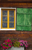 Rural Window of a Swiss Cabin — Stock Photo