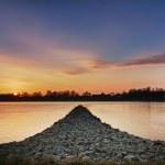 Sunset at Rhein river, Wörth, Germany — Stock Photo