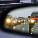 Traffic jam mirror — Stock Photo