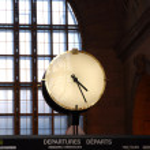 Clock train station — Stock Photo
